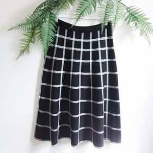 Chelsea & Theodore Plaid Sweater Midi Skirt
